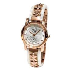 Alexandre Christie Lady Watch Jam Tangan Wanita - Rosegold - Strap Stainless Kombinasi Mika - 2568 (White)
