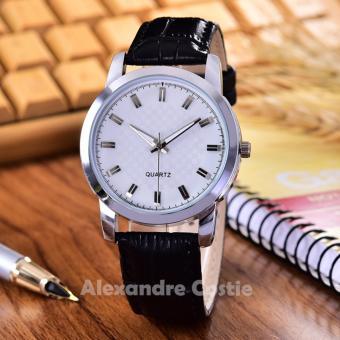 Alexandre Costie - Jam Tangan Pria - Body Silver - White Dial - kulit Hitam - AC-3985A-SW- Black Leather Strap