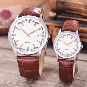 Alexandre Costie - Jam Tangan Pria dan Wanita - Body Silver - White Dial - Brown Leather Strap - AC-5519D-GL-SW-TGL-(rosegold)-BROWN LEATHER STRAP-Couple