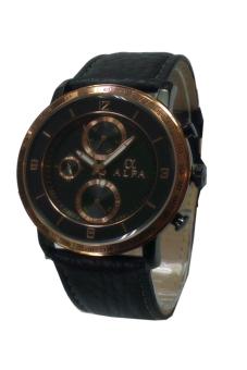 Alfa Crhono Jam Tangan Pria - Hitam-Cokelat - Leather Strap - AL331