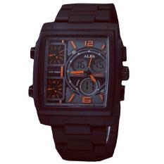 Alfa Four Time - Jam Tanga Pria - Black - ALFA Tristan Black Orange