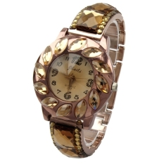All-Match Luxury Generous Delicate Analog Lady Women Quartz Wrist Watches (Gold)