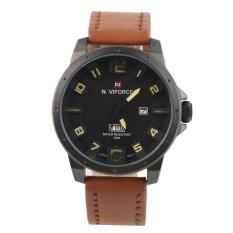 Allwin Men's Fashion Cool Watch Quartz Watch Digital Watches NAVIFORCE NF9061 Black Case + Brown Band + Yellow Pointer (Intl)