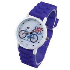 Allwin Round Dial Bicycle Pattern Women Lady Slica Gel Band Quartz Wrist Watch Dark Blue