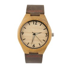 Allwin Vintage Wooden Dial Watch Quartz Watches Men Women Couple Watch Brown Band (Intl)