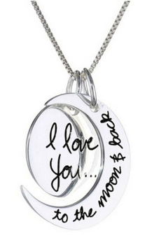 Amango Charm Necklace I Love You To The Moon And Back Silver