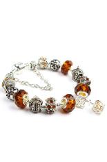 Amango Women Crown Crystal Beads Bangles Chic Brown (Intl)