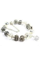 Amango Women Crown Crystal Beads Bangles Chic White (Intl)