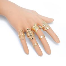 Amart 6 pcs/set Geometric Leaf Rings Set Hollow Flower Finger Rings - intl