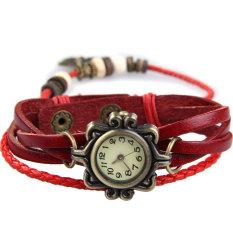 Amart Fashion Girl Retro Bracelet Quartz Wrist Watch Twisted Braid Strap(Red) - intl