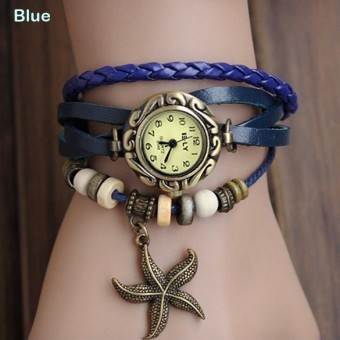 Amart Lady Leather Starfish Watch Retro Bronze Women's Wrist Watch(Blue) - intl