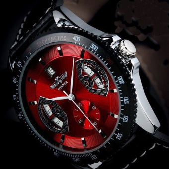 Amart Men Sports Leather Automatic Mechanical Analog Wrist Watch Red - intl