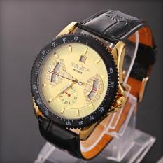 Amart pria olahraga jam tangan Analog mekanik otomatis kulit kuning - Internasional