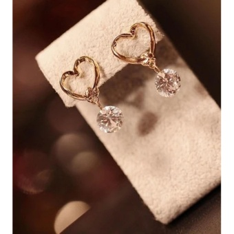 Amefurashi Anting Korea Love Kristal Stud Earring Beauty