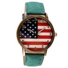 American Flag Pattern Leather Band Analog Quartz Vogue Wrist Watches Green (Intl)