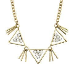 Antique Gold Chain With Rhinestone Geometric Triangle Charm Statement Collar Necklace - Intl