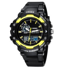 AOXINDA OHSEN Multi Function Mens Military Watches DualTime Digital Analog Chronograph Sport Wrist Watch 50M Water Resistant Waterproof For Boy Girls Gift - Yellow