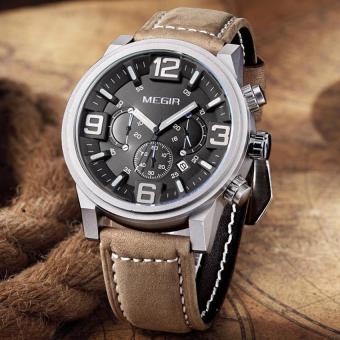 Asli MEGIR Chronograph populer pria merek jam tangan kulit jam tangan laki-laki militer olahraga kuarsa dunia pria jam tangan MEGIR 3010 - International