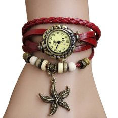 Azone New Stylish Quartz Weave Wrap Synthetic Leather Bracelet Women's Wrist Watch 5 Colors (Gold) - Intl