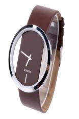 AZONE Women's Faux Leather Fashion Quartz Wrist Watch Transparent Dial (Brown)