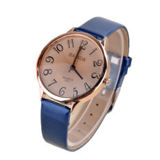 AZONE Women's Strap Quartz-Watch Wristwatches Synthetic Leather Round Shape Analog Dial Display (Blue)
