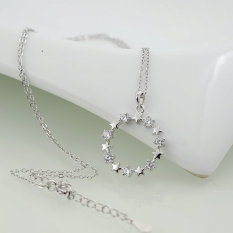 """Beautiful 925 Sterling Silver Cubic Zirconia White Gold Plated Circle Pendant Necklace 16"""" + 2"""" Extender"""