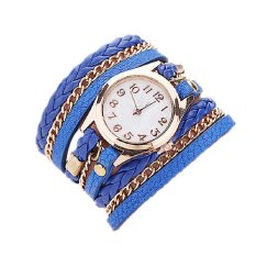 Beautiful Gift Strap Leather Strap Braided Faux Analog Quartz Pointer Bracelet Wristwatch Women Blue (Intl)