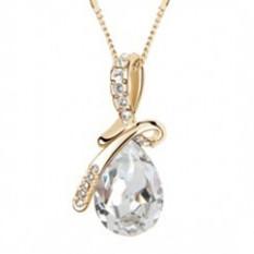 Berlian imitasi kristal Water Drop liontin kalung untuk wanita Silver dan putih - Internasional