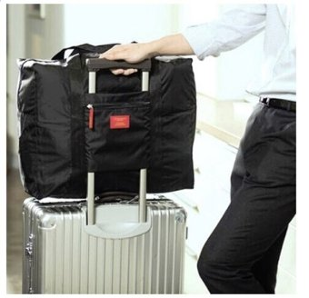 BEST Foldable Travel Bag/Hand Carry Tas Lipat / Koper Luggage Organizer - HITAM