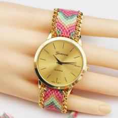 BEST Jam Geneva Rajut Anyam Bohemia Vintage Indian Korea Style Watch - PINK TANGAN