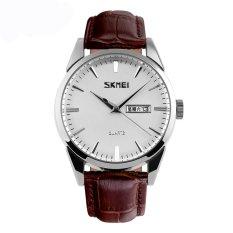 Best Sale Fashion Casual Men's Genuine Leather Stripe Quartz Wrist Watches-White-Silver Shell (9073-Men)
