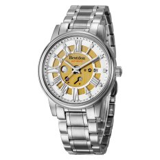 Bestdon 7109G Men's Fashion Waterproof Stainless Steel Band Hollow Out Auto-Mechanical Wristwatch - Silver + White