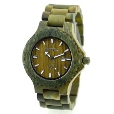 BEWELL Men Auto Date Big Dial Handmade Maple Wooden Watches Green Color Wood Watch