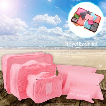 BIG SIZE Travel Bag 6in1 Organizer IM OR 60-01/Organizer Space Koper 1 Set - Baby pink