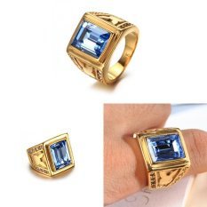 Big Square Light Blue Stone Crystal Zircon Vintage Wedding Ring for Men/Women Yellow Gold Plated Rings Jewelry - intl
