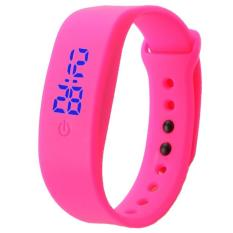 Bigskyie Womens Mens Rubber LED Watch Date Sports Bracelet Digital Wrist Watch Hot PinkFree Shipping