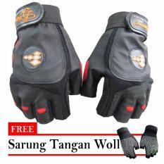 Bikers Sarung Tangan Half LJ Sport - Hitam + Free Sarung Tangan Woll
