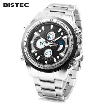 [BLACK] BISTEC 203 Male Dual Movt Sport Watch LED Digital Quartz Alarm Stopwatch Calendar Men Wristwatch - intl