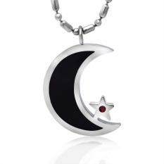 Black Enamel Silver Tone Stainless Steel Islamic Crescent Moon & Star Pendant Necklace 60CM SS Chain - Intl