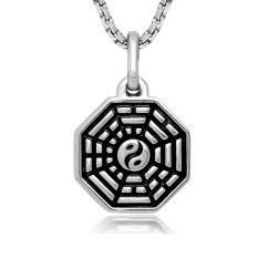 Black Enamel Silver Tone Stainless Steel Yin Yang Eight Diagrams Pendant Necklace 60CM SS Chain - Intl