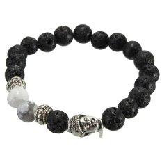 Black Lava Rock Stone White Turquoise Silver Buddha Head Mens Bracelet 8mm Beads
