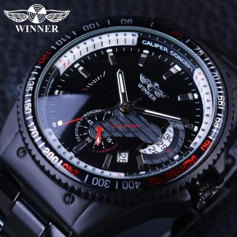 Black Stainless Steel Calendar Display Mens Mechanical Automatic Watch - intl