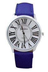 Blue Lans Unisex Sapphire Blue Leather Strap Watch (Intl)