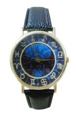 Bluelans Women's Men's Dark Blue Dial Faux Leather Quartz Analog Watch (Black)