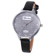 Bluelans® Candy Color Faux Leather Slim Band Glitter Dial Shiny Rhinestone Women Watch (Black) - intl