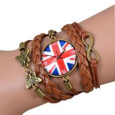 Bluelans Chic Women UK Flag Pattern Bracelet Faux Leather Weave Bangle (Intl)