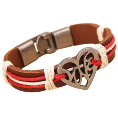 Bluelans Couple Hollow Love Heart Knitted Leather Bangle Alloy Cuff Buckle Bracelet Red