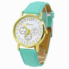Bluelans Geneva Women's 3 Sub-dial Faux Leather Arabic Number Analog Quartz Watch Green (Intl)