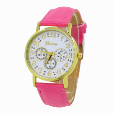 Bluelans Geneva Women's 3 Sub-dial Faux Leather Arabic Number Analog Quartz Watch Rose-Red (Intl)