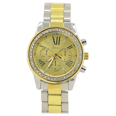 Bluelans Geneva Women's Men's Roman Number Crystal Analog Quartz Wrist Watch Silver + Golden (Intl)